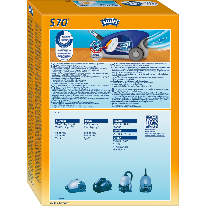 16 Staubsaugerbeutel 4 Original SWIRL S 70 MicroPor® PLUS für Siemens Bosch
